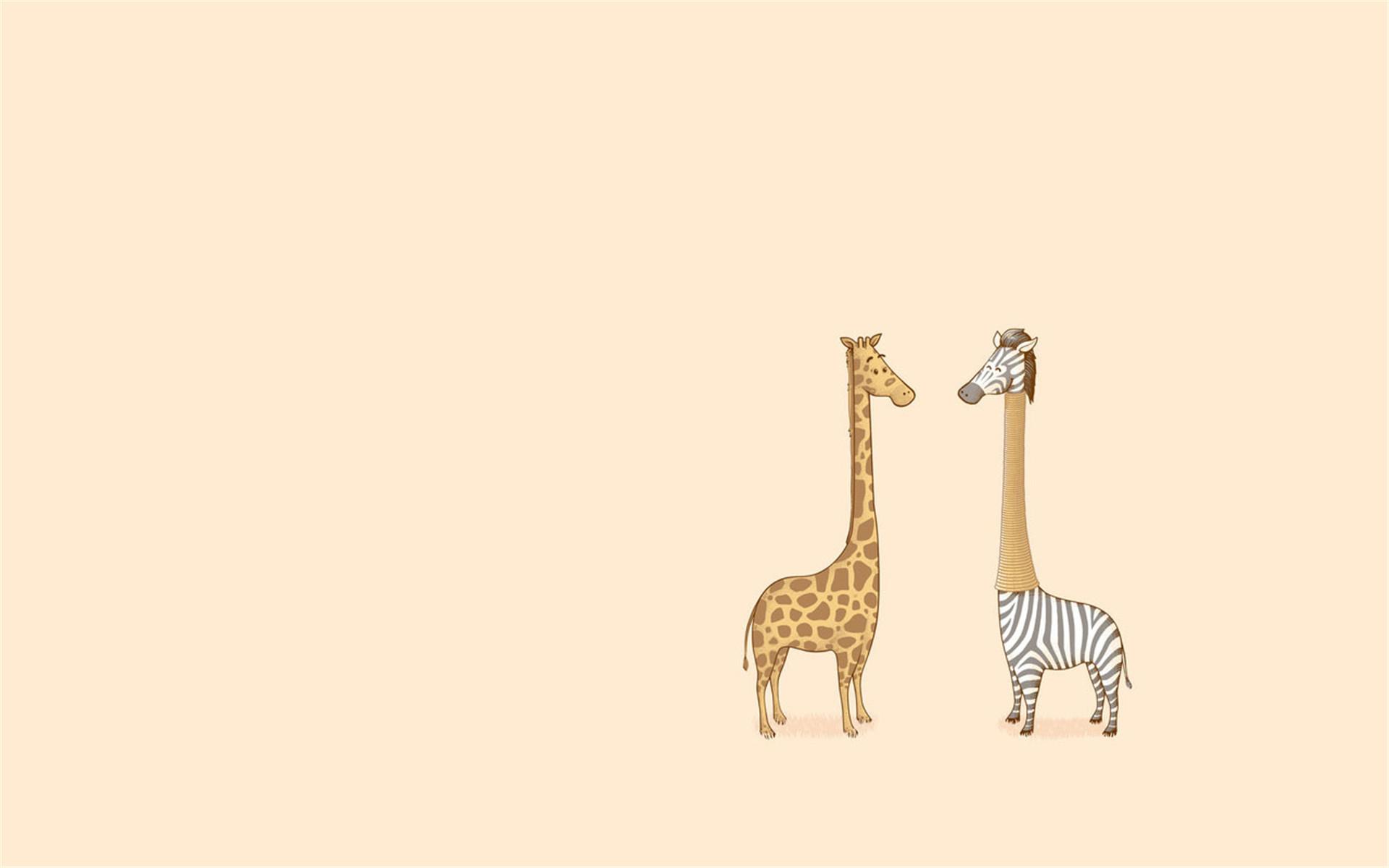 模板长颈鹿可爱小清新文艺范卡通